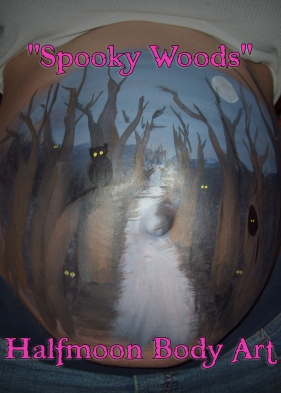 spooky woods pregnancy belly paint